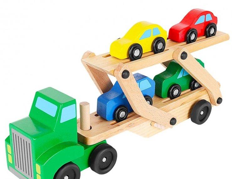 Camion Giocattolo In Legno Con Bisarca Per Trasporto 4 Macchinine Incluse