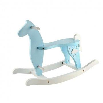 Cavallo A Dondolo In Legno Per Bambini Con Poggiapiedi E Ampio Sedile