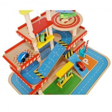 Garage Giocattolo In Legno Dettaglio Dall'alto