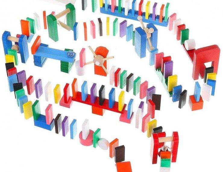 Domino In Legno Per Bambini Da 3 Anni 407 Elementi Colorati