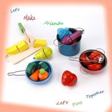 Frutta E Verdura Giocattolo Per Bambini In Legno Colorati E Velcro