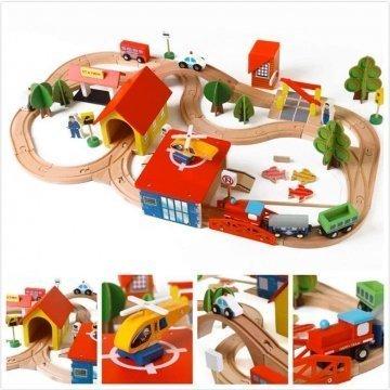 Pista Treno In Legno Grande Per Bambini