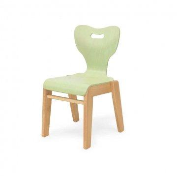 Sedia Per Bambini Mia Verde Impilabile E Anatomica In Legno Di Faggio