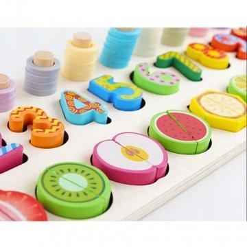 Puzzle In Legno Numeri E Frutta Per Bambini