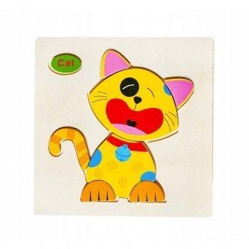 Puzzle In Legno Per Bambini Gattino